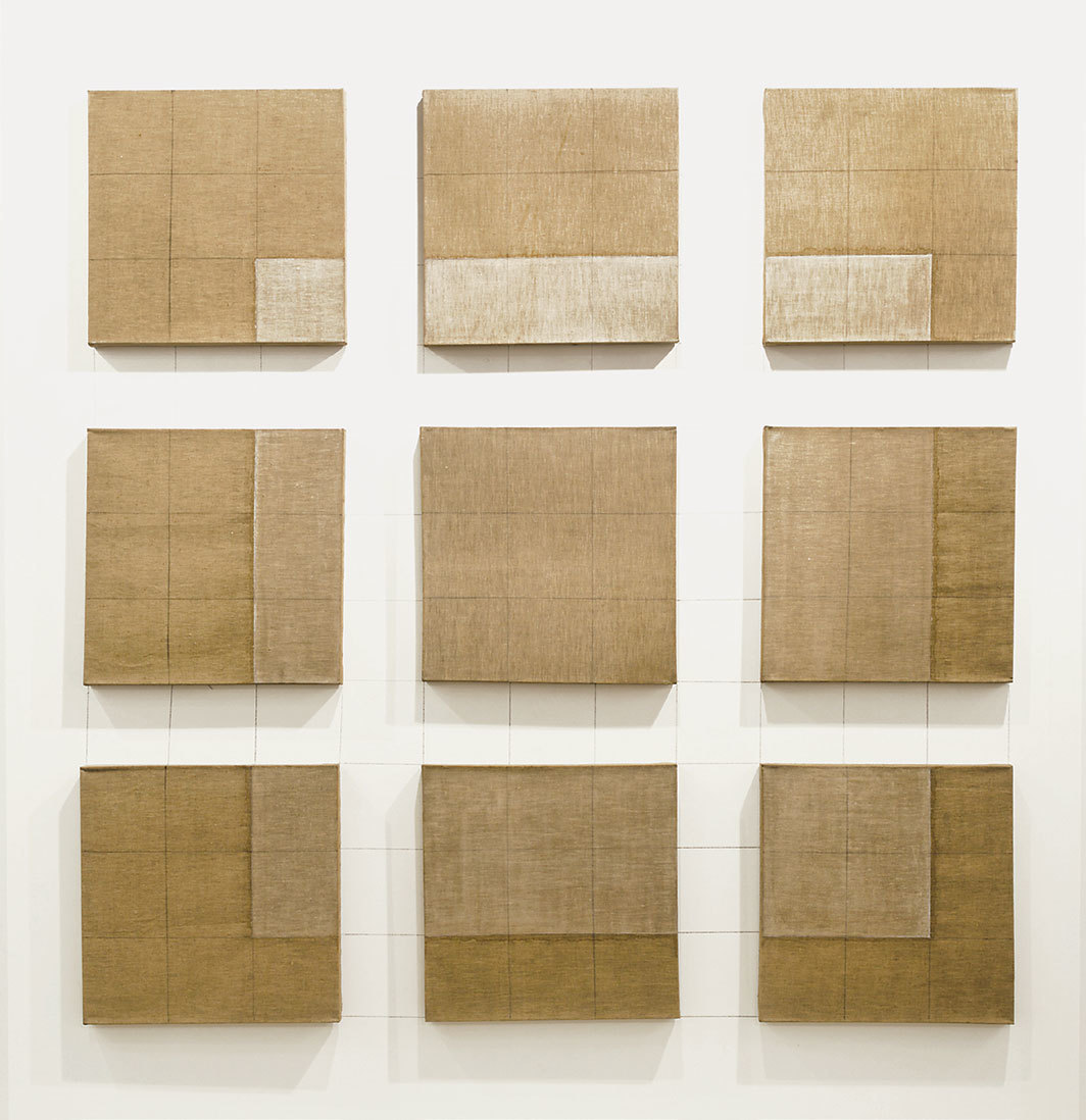 "Adrian Piper, Nine-Part Floating Square, 1967, pencil and gesso on nine canvases, with pencil on wall, overall 66 × 66""."