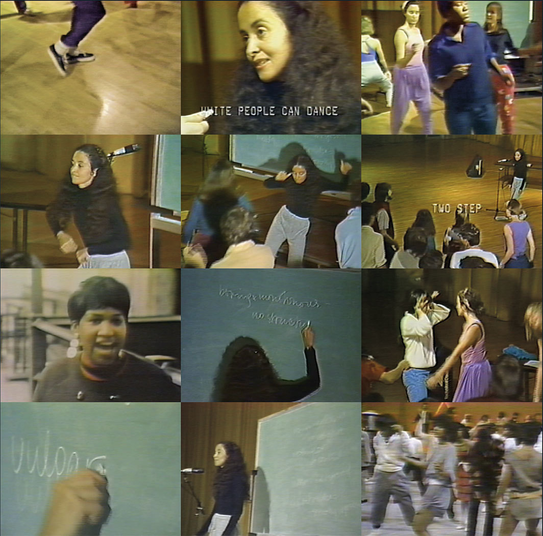 Twelve stills from Adrian Piper's Funk Lessons, 1983–84, video, color, sound, 15 minutes 17 seconds. Video: Sam Samore.