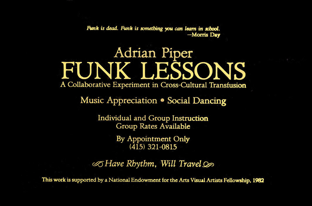 "Adrian Piper, Funk Lessons Direct Mail Advertisement, 1983, gold leaf on letterpress card, 5 ¾ × 8 ¾""."