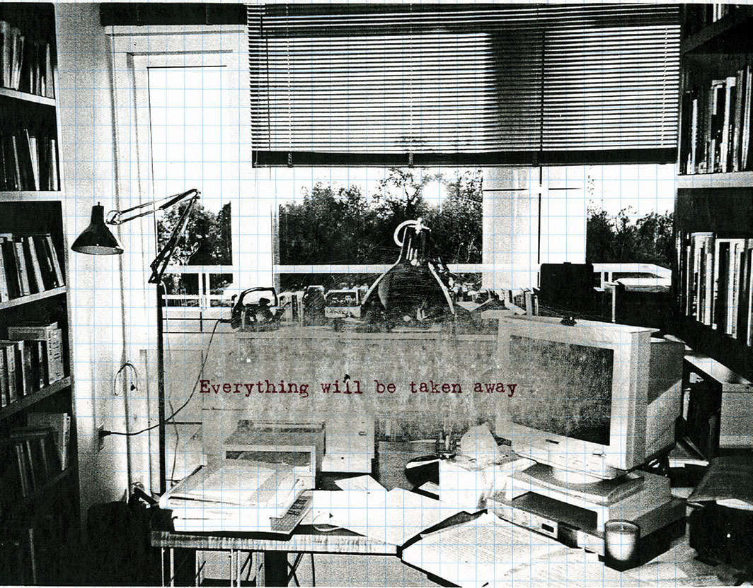 "Adrian Piper, Everything #2.7, 2003, ink-jet text and sanded photocopy on graph paper, 8 1⁄2 × 11""."