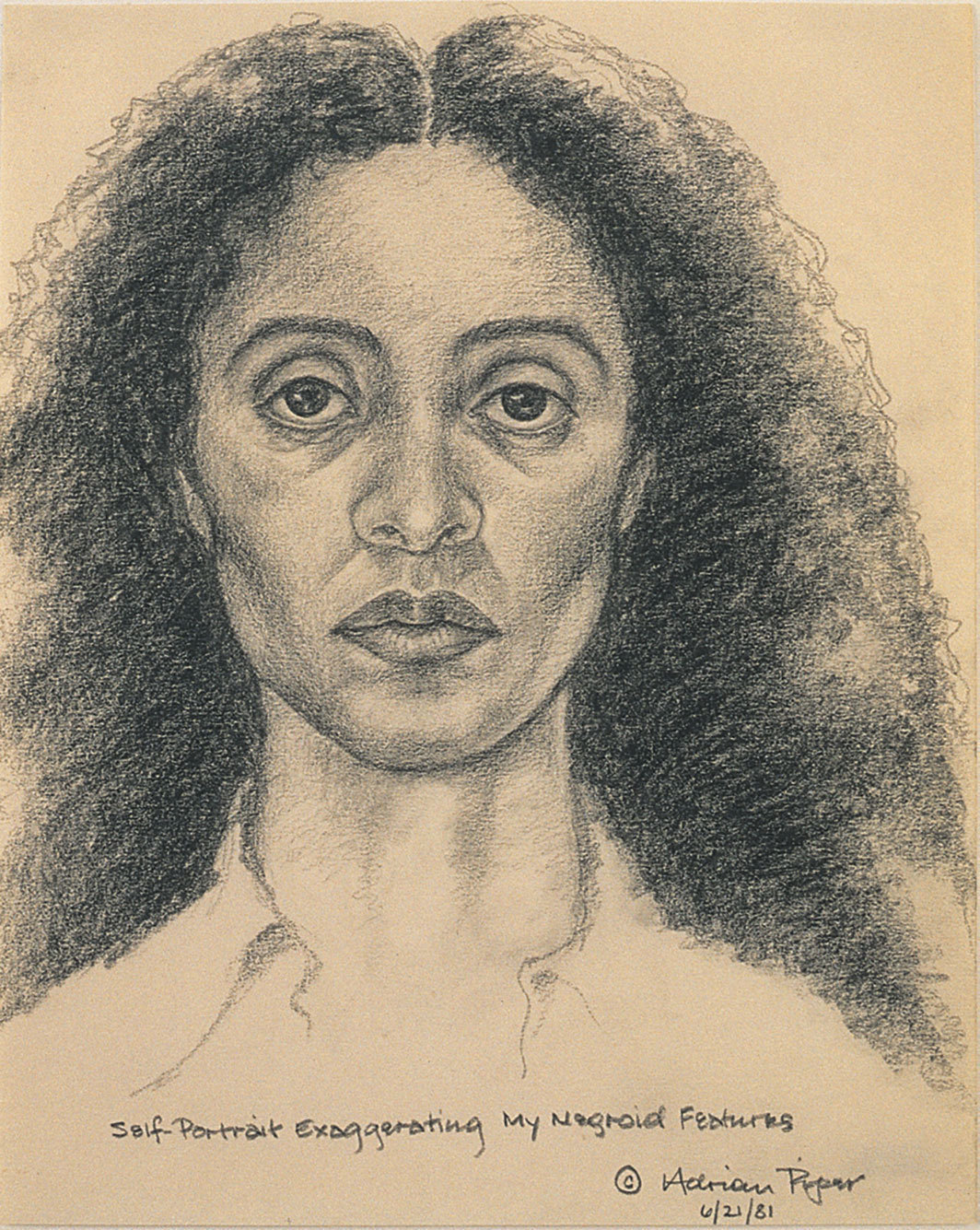 "Adrian Piper, Self-Portrait Exaggerating My Negroid Features, 1981, pencil on paper, 10 × 8""."