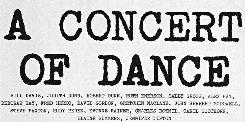 "Steve Paxton, poster for ""A Concert of Dance #1"" (detail), 1962."