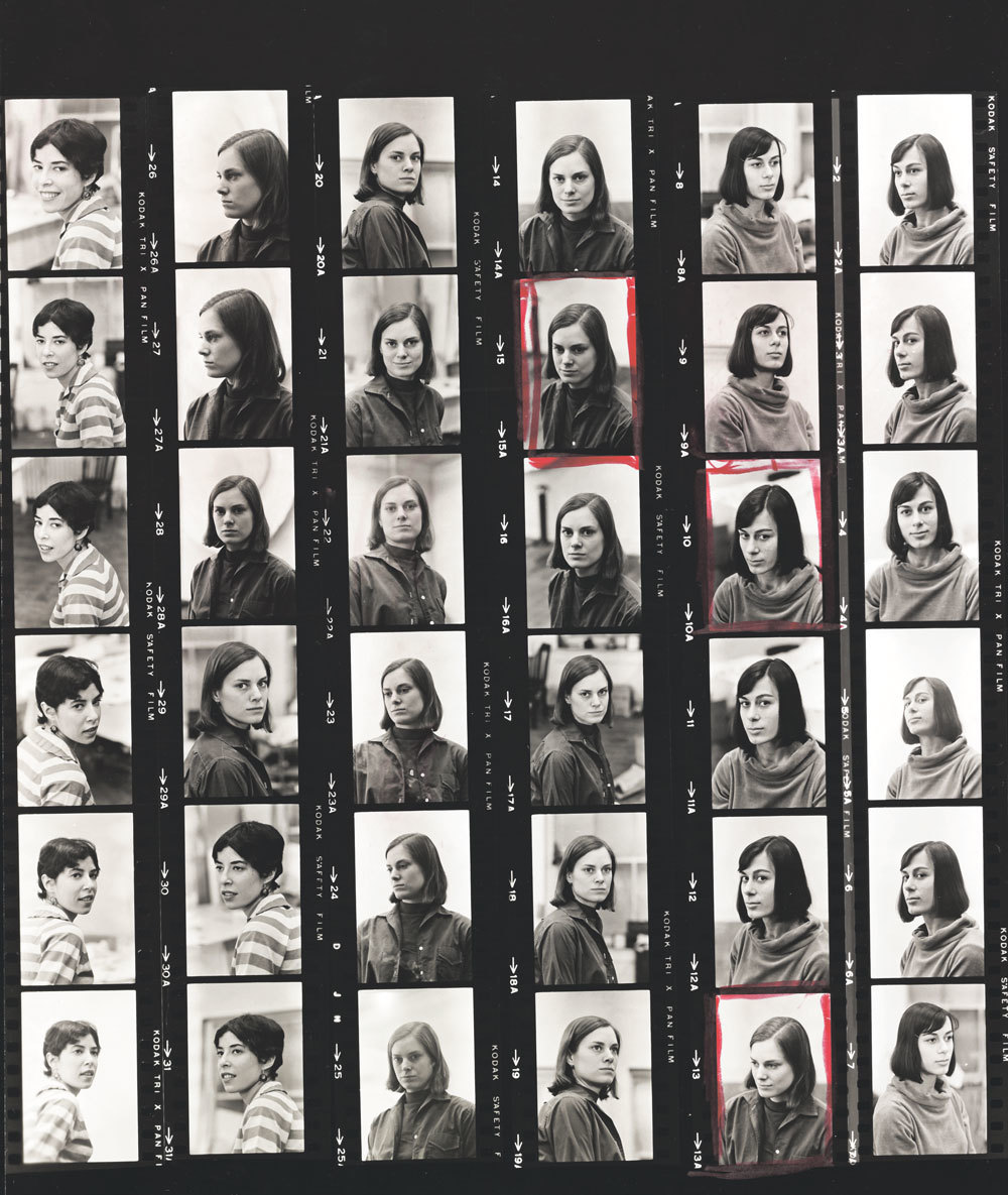 Al Giese's contact sheet of, from left, Deborah Hay, Lucinda Childs, and Yvonne Rainer, New York, March 3, 1965.