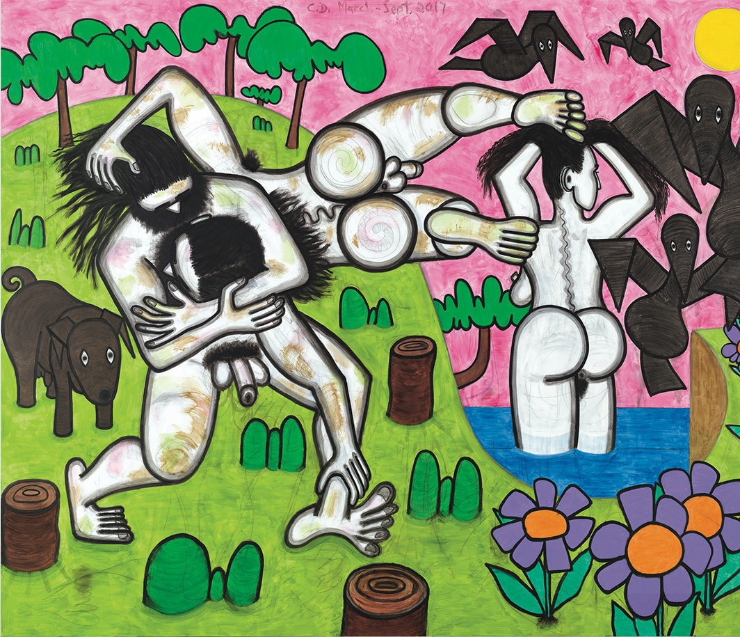 "Carroll Dunham, Any Day, 2017, urethane, acrylic, and pencil on linen, 78 × 100""."