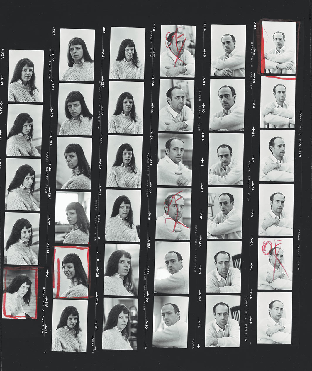 Al Giese's contact sheet of Jill Johnson and Robert Morris, New York, March 3, 1965.