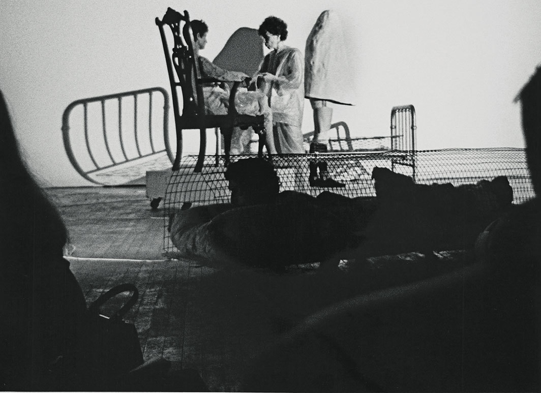 Robert Rauschenberg, Linoleum_, 1996. Performance view, Spring Gallery 68, New York, May 28, 1968. Left: Simone Forti and Dorothea Rockburne. Photo: Shunk-Kender.