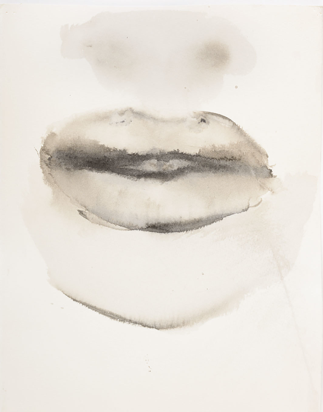 "Marlene Dumas, She speaks, 2015–16, ink and metallic acrylic on paper, 11 1⁄8 × 9 1⁄4"". From the series ""Venus & Adonis,"" 2015–16."