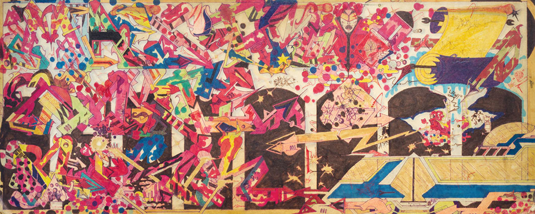 "RAMMΣLLZΣΣ, Maestro 2 Hyte Risk, 1976–79, pen and marker on cardboard, 9 7⁄8 × 23 5⁄8""."