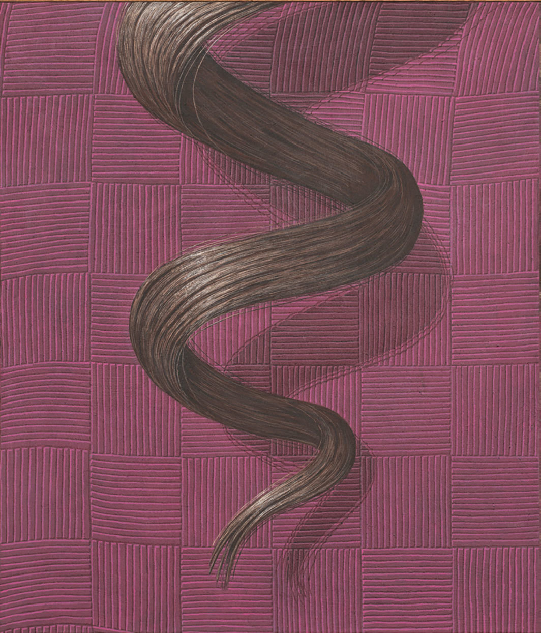 "Domenico Gnoli, Curl, 1969, acrylic and sand on canvas, 54 3⁄4 × 47 1⁄4""."