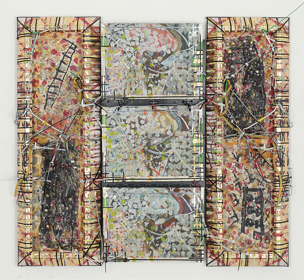 "Robert Bittenbender, Gethsemane, 2018, mixed media on canvas board, 30 × 32 1⁄2 × 3""."