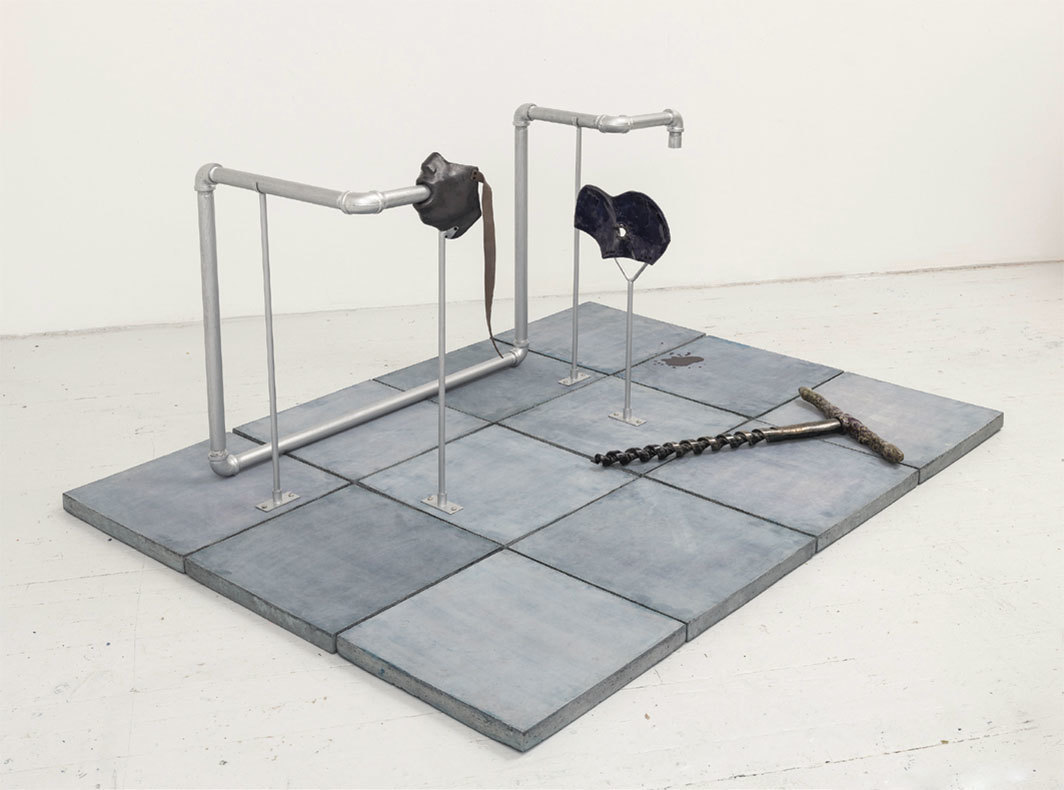 "Julia Philips, Extruder (#1), 2017, partially glazed ceramics, nylon screws, metal struts, metal pipes, concrete tiles, lacquer, 33 7⁄8 × 51 1⁄4 × 68 1⁄8""."