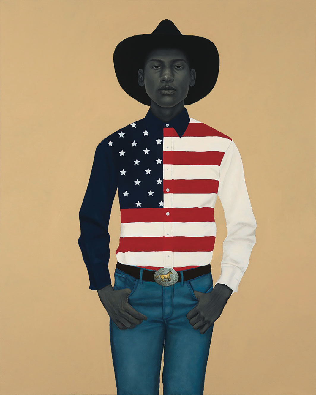"Amy Sherald, What's precious inside of him does not care to be known by the mind in ways that diminish its presence (All American), 2017, oil on canvas, 54 × 43""."