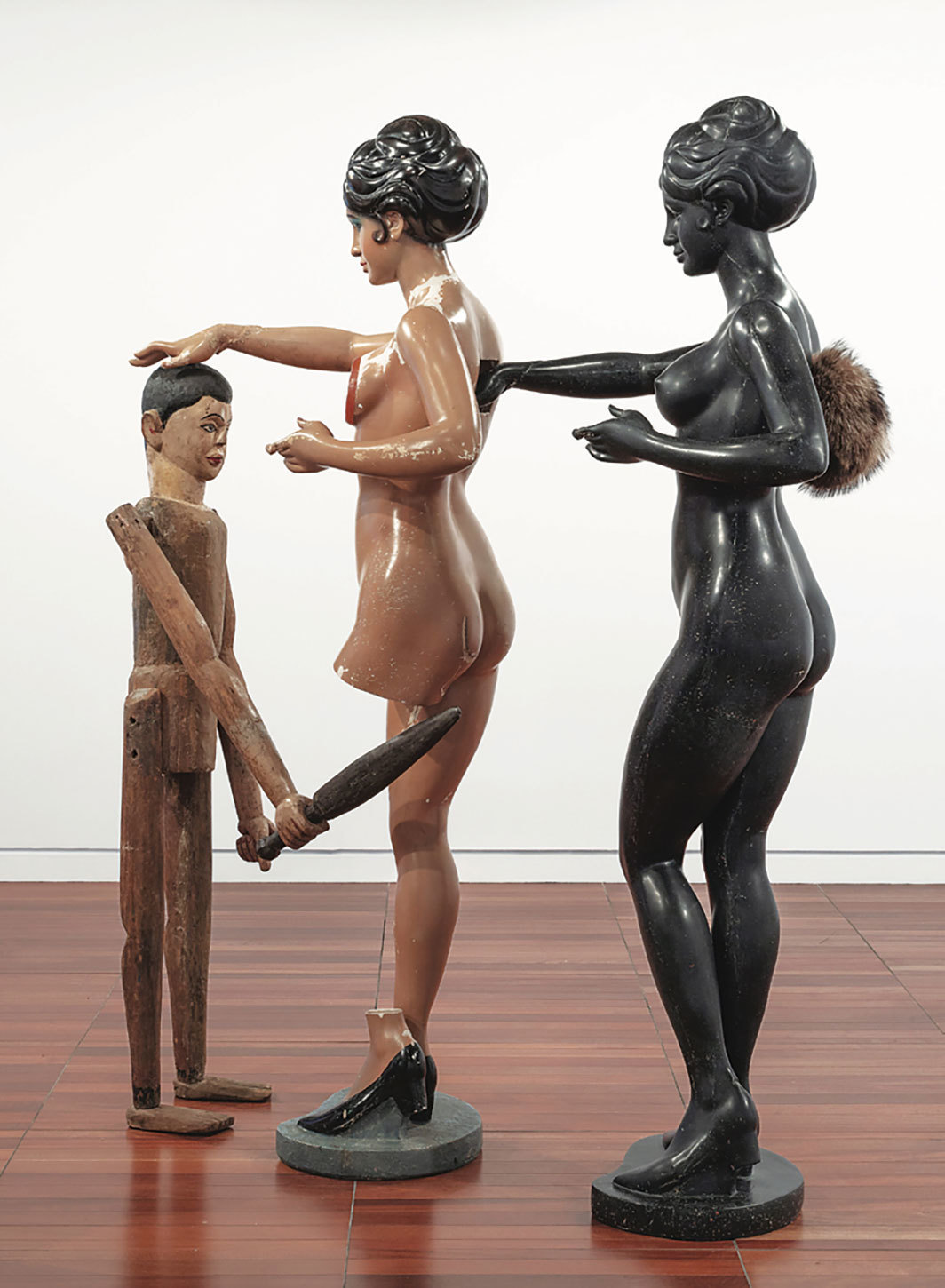 "Bharti Kher, Mother and Child, 2014, resin, wood, wax, fur, 58 1⁄4 × 24 × 70 7⁄8""."