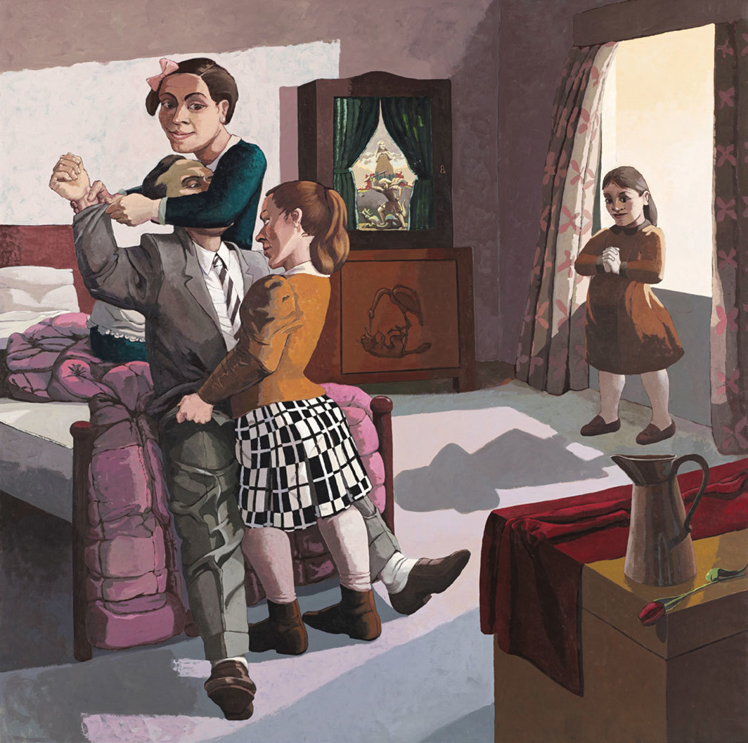 "Paula Rego, The Family, 1988, acrylic on canvas-backed paper, 84 × 84"". From ""All Too Human: Bacon, Freud and a Century of Painting Life."""