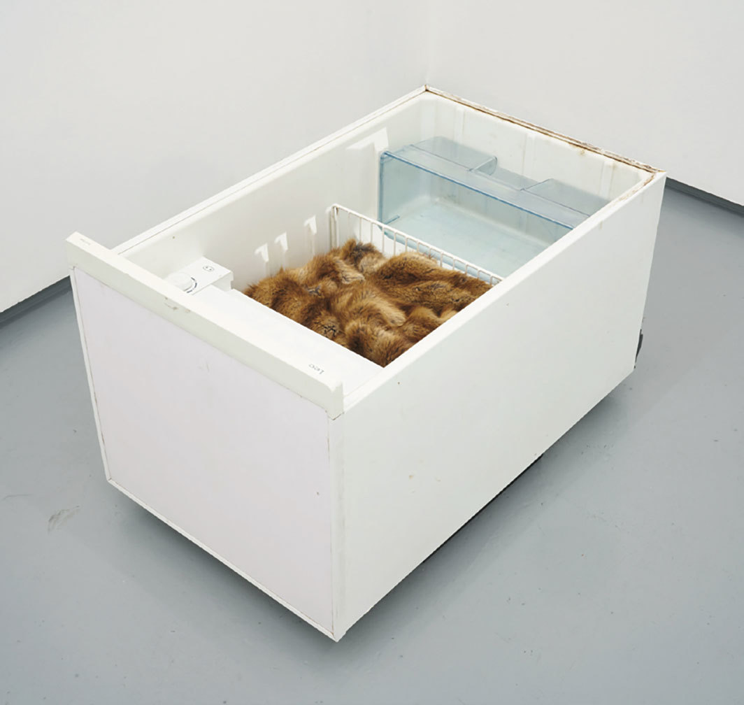 "Nicolás Lamas, Untitled (Becoming Animal), 2018, used domestic refrigerator, vintage fur coat, 19 1⁄4 × 21 5⁄8 × 33 1⁄2""."
