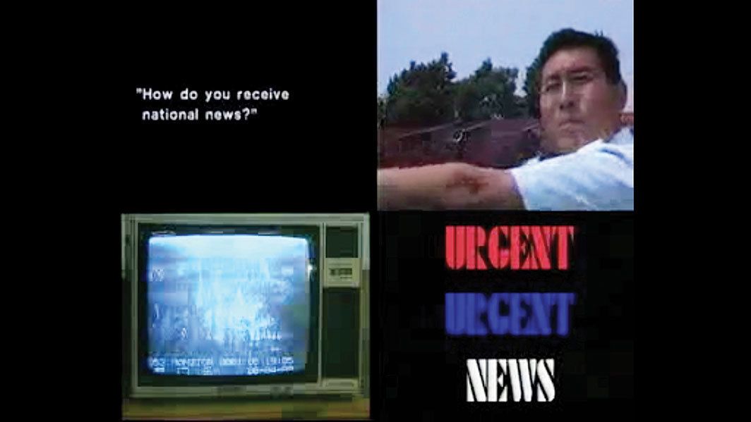 Shu Lea Cheang, Making News Making History—Live from Tiananmen Square, 1989, five-channel video, color, sound, 30 minutes.