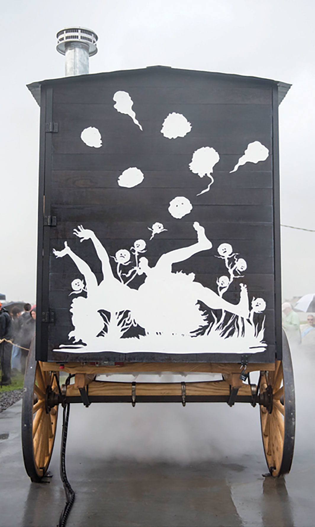 *Kara Walker, _The Katastwóf Karavan_, 2018, mixed media.* Installation view, Algiers Point, New Orleans. From Prospect.4. Photo: J Caldwell.