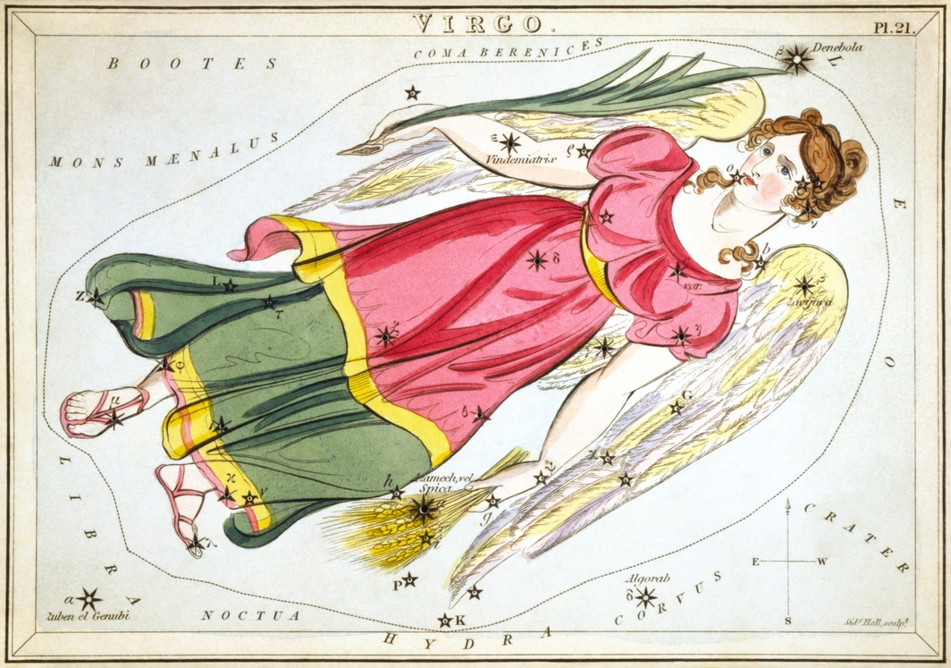 Virgo as depicted in Urania's Mirror, a set of constellation cards published in London c.1825.
