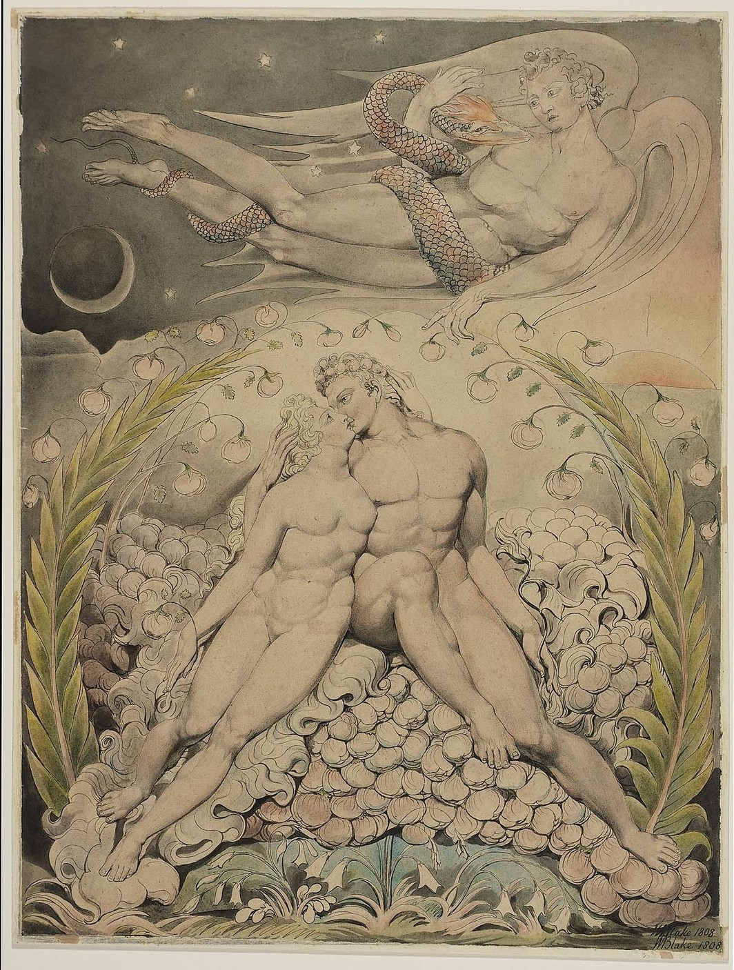 "William Blake, Satan Watching the Caresses of Adam and Eve, 1808, pen and watercolor on paper, 19 7/8 x 14 15/16"". From Milton's Paradise Lost. 