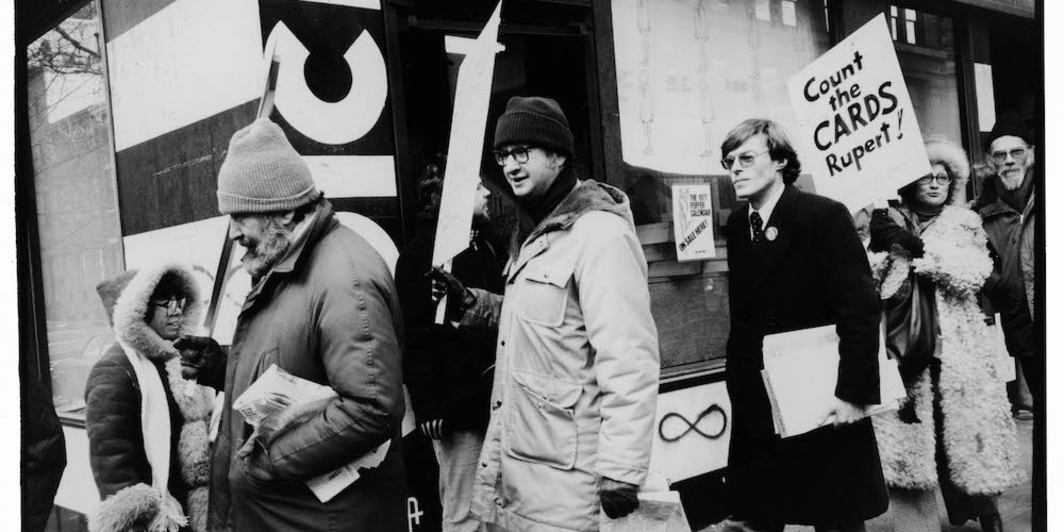 From left: Nat Hentoff, Jules Feiffer, Alex Cockburn, Karen Durbin, and Joel Oppenheimer picket after Rupert Murdoch bought the paper in 1977. Photograph: © Sylvia Plachy.