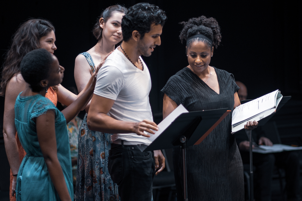 Sifiso Mabena, Deidre Donovan, Chloé Worthington, Gabriel Sloyer, and Nicole Lewis performing in Maria Irene Fornes's Molly's Dream on August 27 at the Public Theater. Photo: Johnny Moreno.