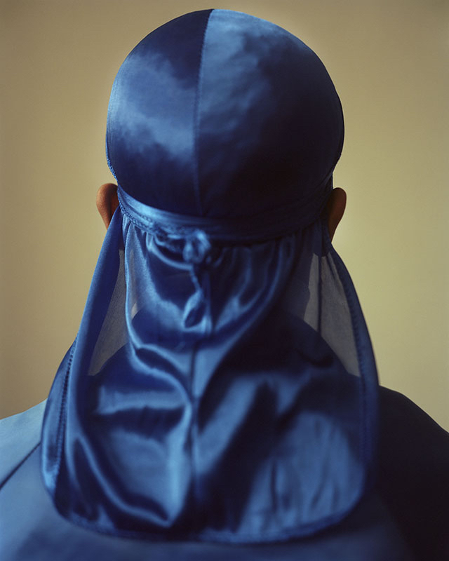 "John Edmonds, Untitled (Du-Rag 3), 2017, pigment print on Japanese silk, 50 x 40""."
