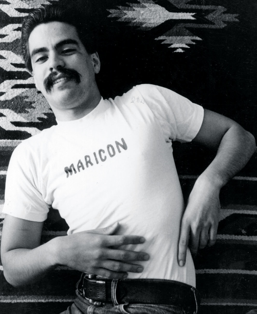 Joey Terrill wearing his MARICON T-shirt, 1975. Photo: Teddy Sandoval.