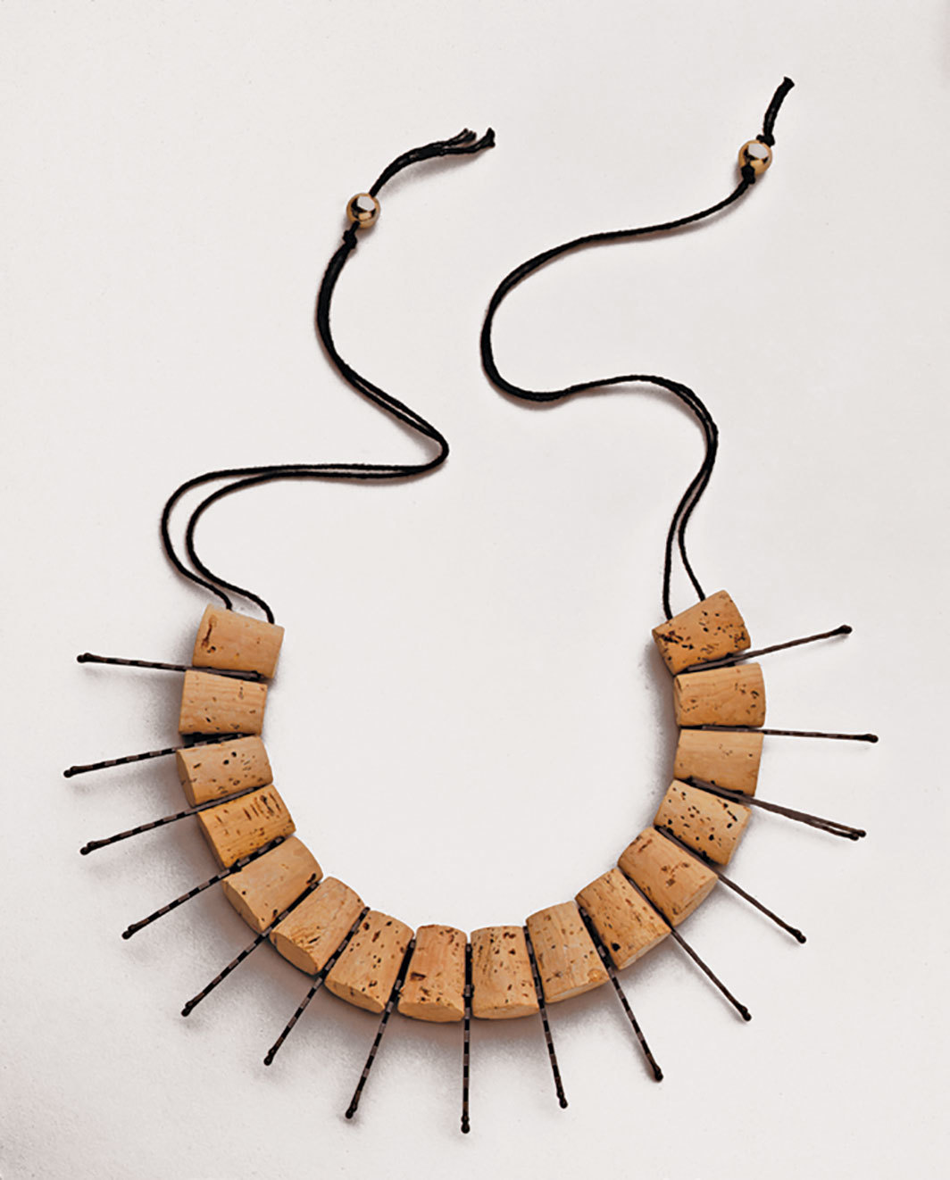 "Anni Albers and Alexander Reed, necklace, ca. 1940/1988, corks, bobby pins, thread,  30"" long. Reconstruction: Mary Emma Harris."