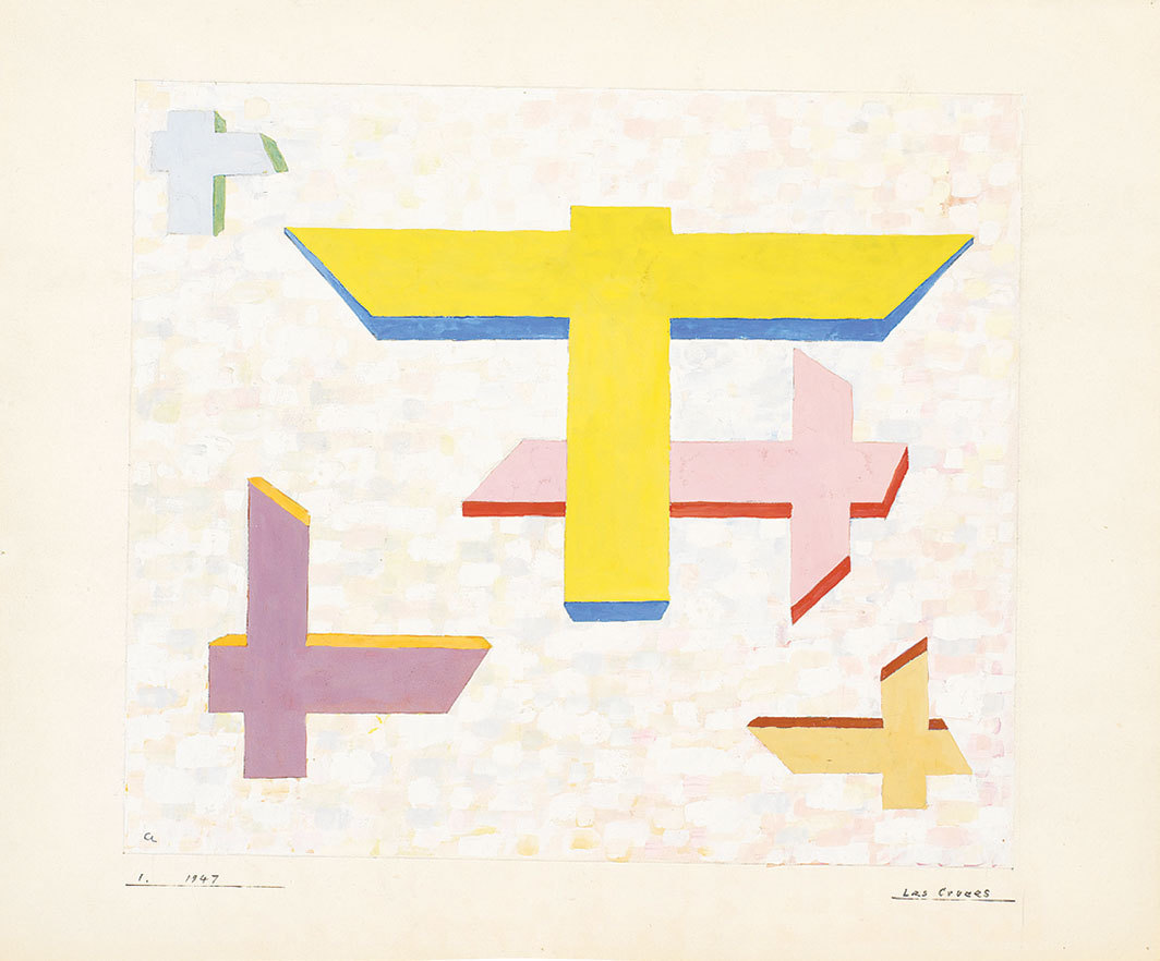 "Anni Albers, Las Cruces I (The Crosses I), 1947, gouache on paper, 16 1⁄2 × 19 7⁄8""."
