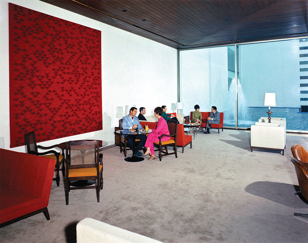 Anni Albers's Camino Real, 1968 in the lobby bar of the Camino Real Hotel, Mexico City, 1968. Photo: Armando Salas Portugal.