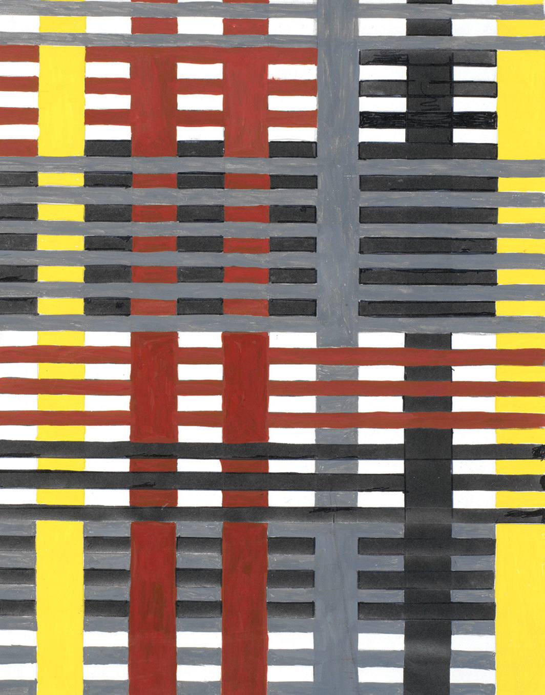 "Anni Albers, study for a 1926 unexecuted wall hanging (detail), n.d., gouache and pencil on photo offset paper, 15 1⁄8 × 9 7⁄8""."
