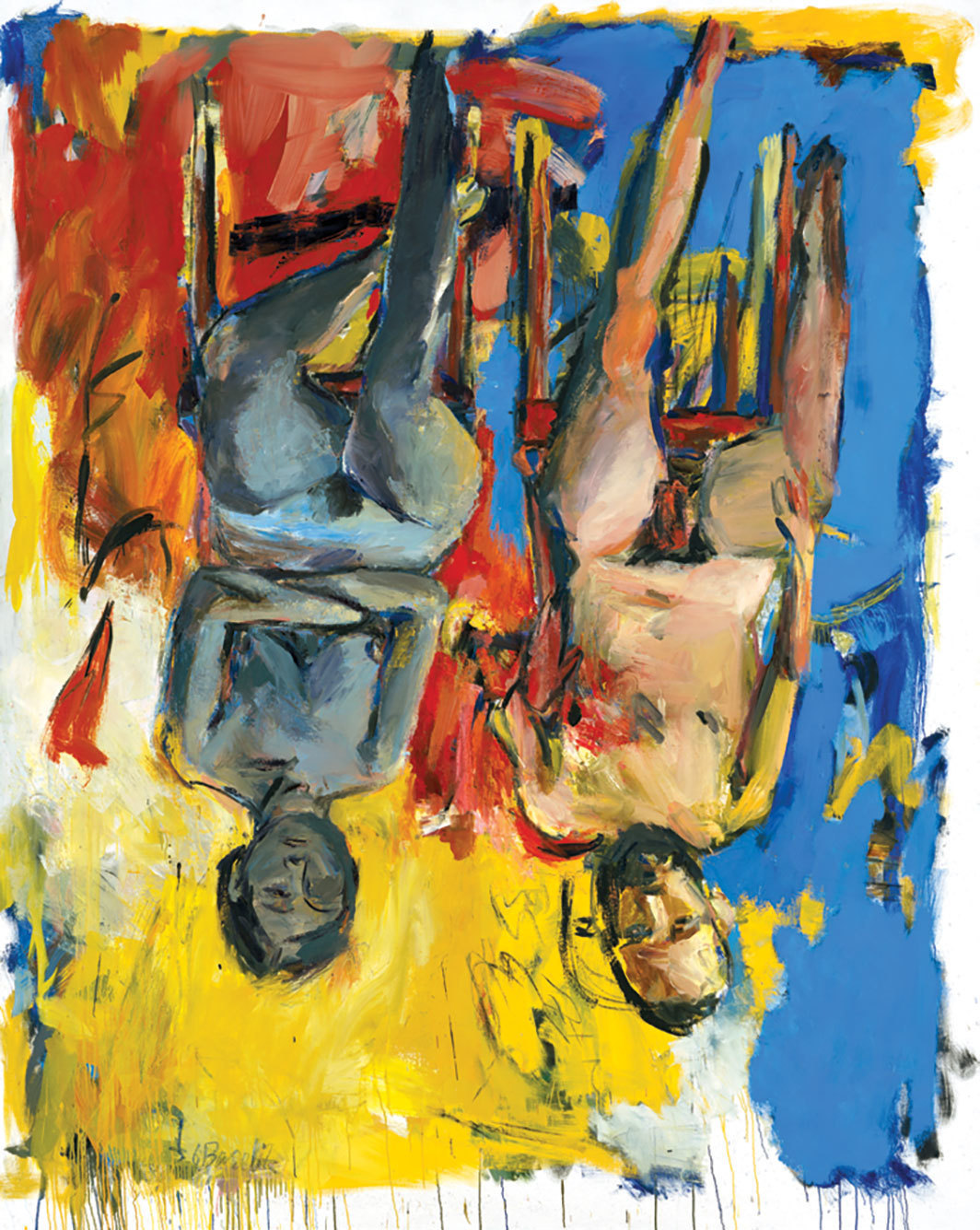 "Georg Baselitz, Schlafzimmer (Bedroom), 1975, oil and charcoal on canvas, 98 3⁄8 × 78 3⁄4""."