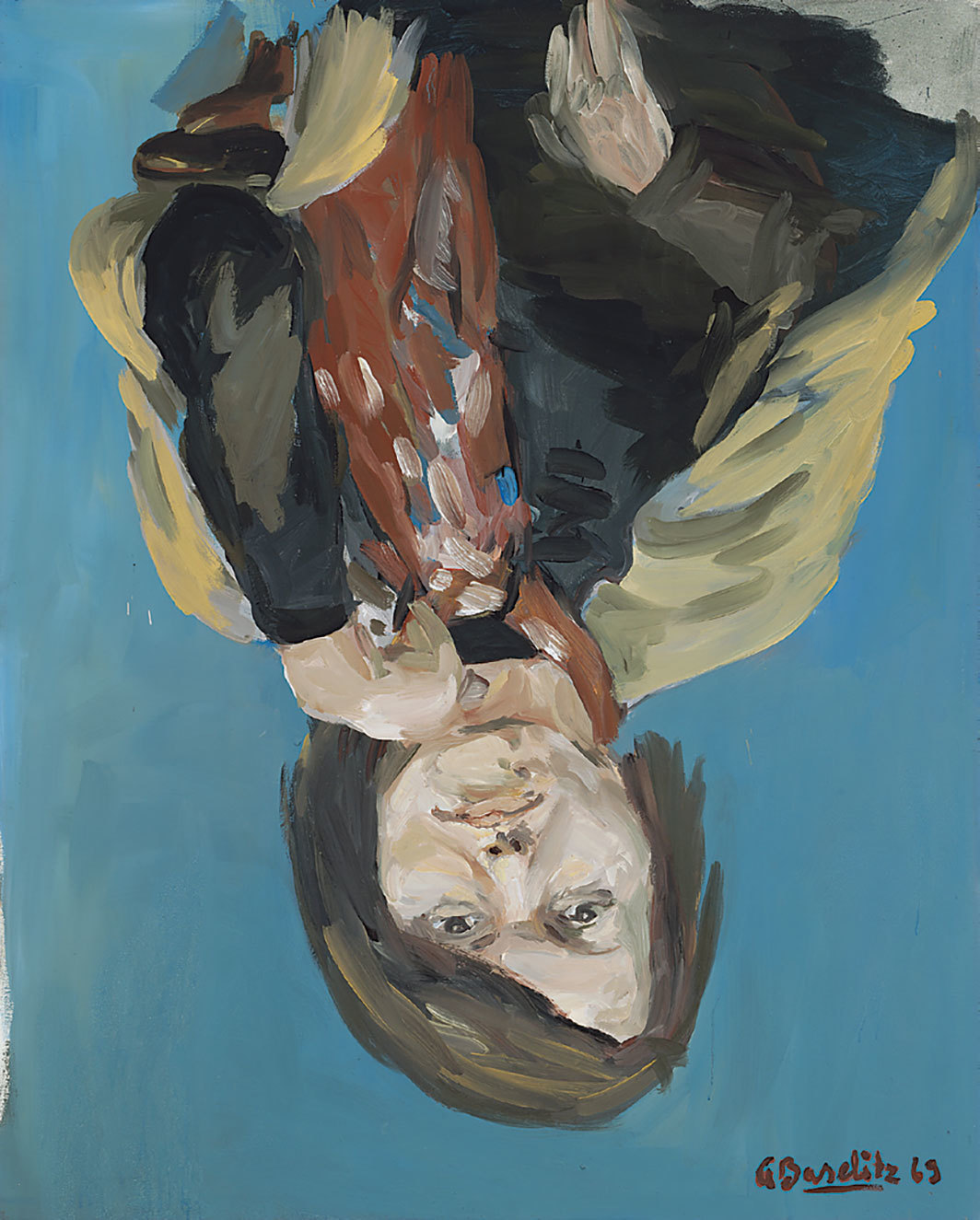 "Georg Baselitz, Porträt Elke I (Portrait of Elke I), 1969, synthetic resin on canvas, 63 3⁄4 × 51 1⁄8""."