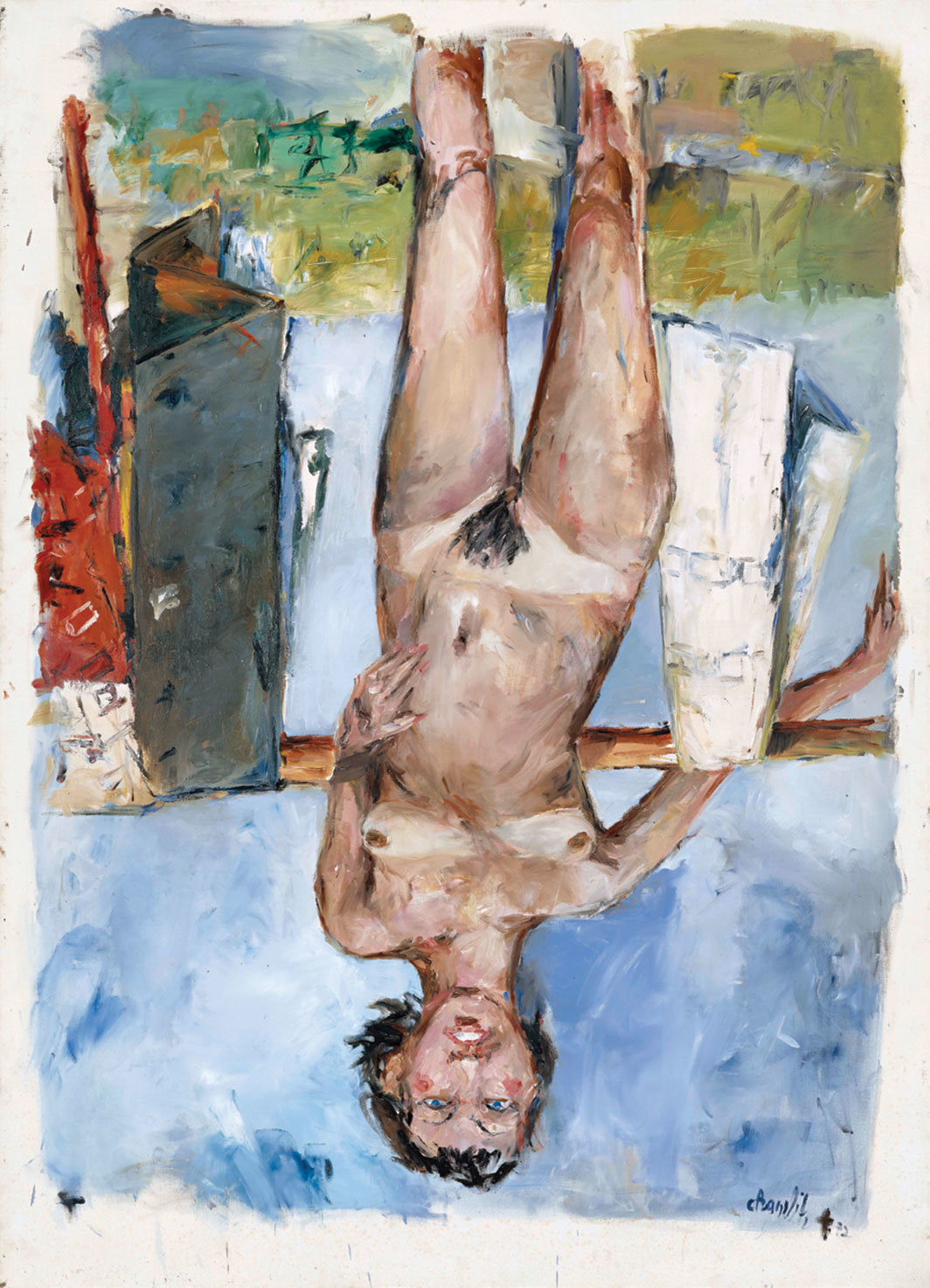 "Georg Baselitz, Fingermalerei–Weiblicher Akt (Finger Painting–Female Nude), 1972, oil on canvas, 98 3⁄8 × 70 7⁄8""."