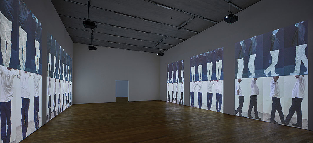 Bruce Nauman, Contrapposto Studies, i through vii, 2015–16, seven-channel HD video projection, color, sound, indefinite duration. Installation view, Schaulager, Basel, 2018. Photo: Tom Bisig.