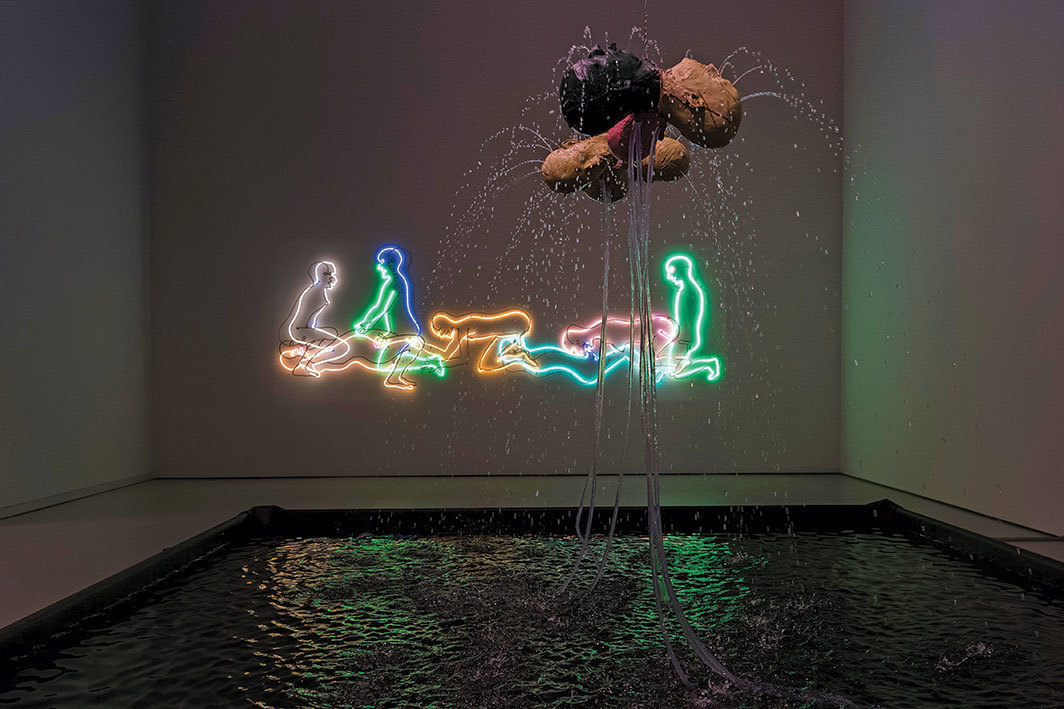 "View of ""Bruce Nauman: Disappearing Acts,"" 2018, Schaulager, Basel. Background: Seven Figures, 1985. Foreground: Three Heads Fountain (Three Andrews), 2005; Three Heads Fountain (Juliet, Andrew, Rinde), 2005. Photo: Georgios Kefalas/EPA-EFE/Shutterstock."