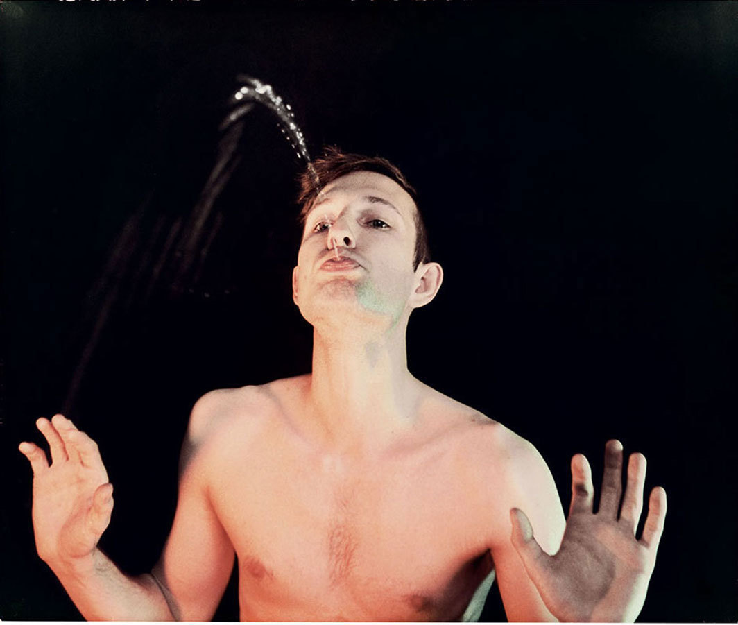 "Bruce Nauman, Self-Portrait  as a Fountain, 1966, C-print,  19 1⁄2 × 23 1⁄4""."