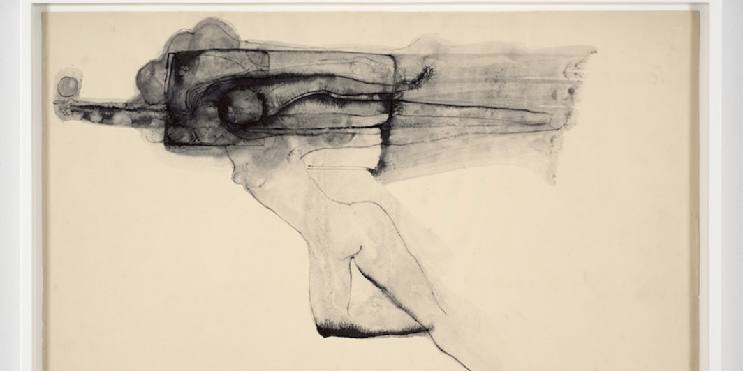 "Ibrahim El-Salahi, By His Will, We Teach Birds How to Fly No. 5, 1969, pen, ink and wash, 15 x 22 1/8""."