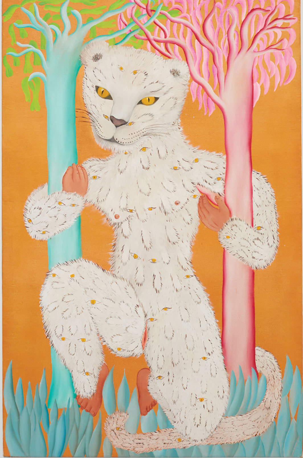 "Cecilia Vicuna, Leoparda de Ojitos (Leopard of Little Eyes), 1976, oil on canvas, 55 3⁄8 × 35 1⁄2""."