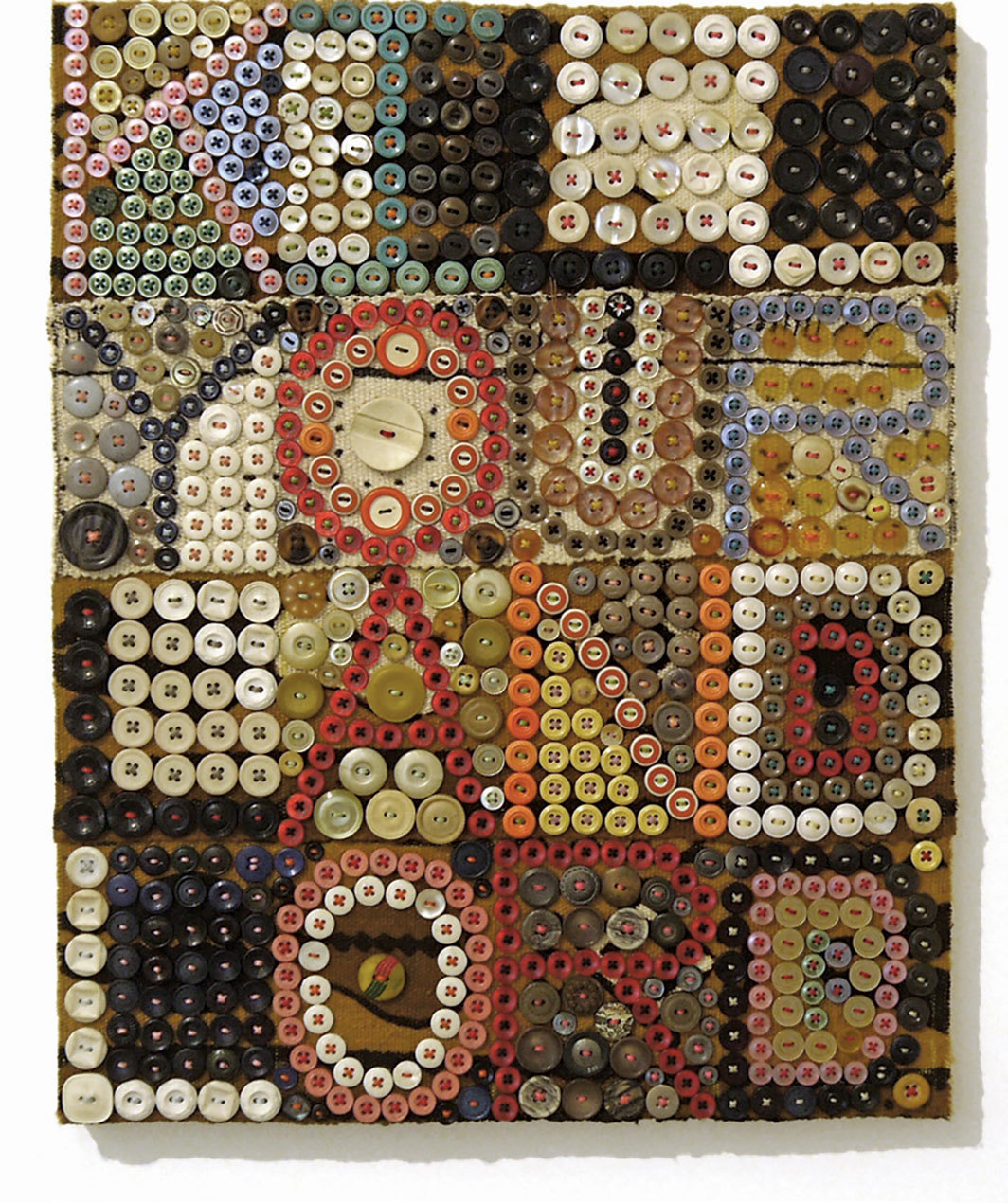 "Jeff Perrone, Kill Your Landlord, 2016, mud cloth, buttons, and thread on canvas, 16 × 12""."