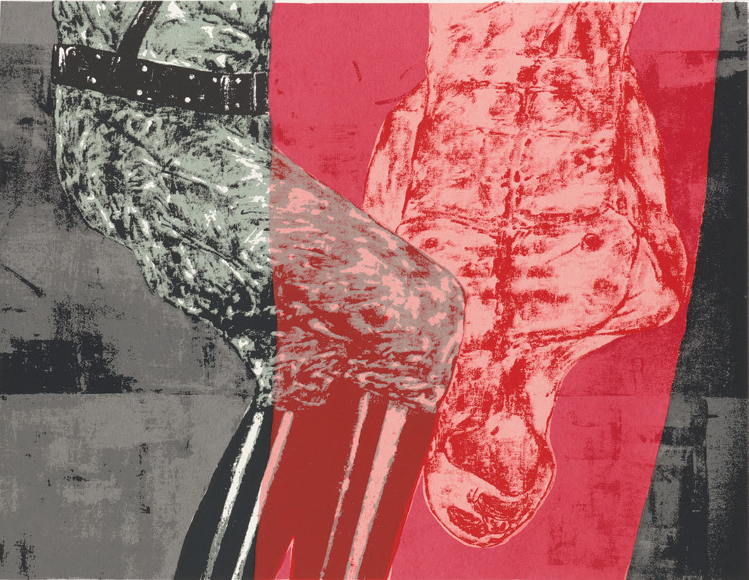 "Leon Golub, Interrogation, 1992, silk screen on paper, 17 × 22""."