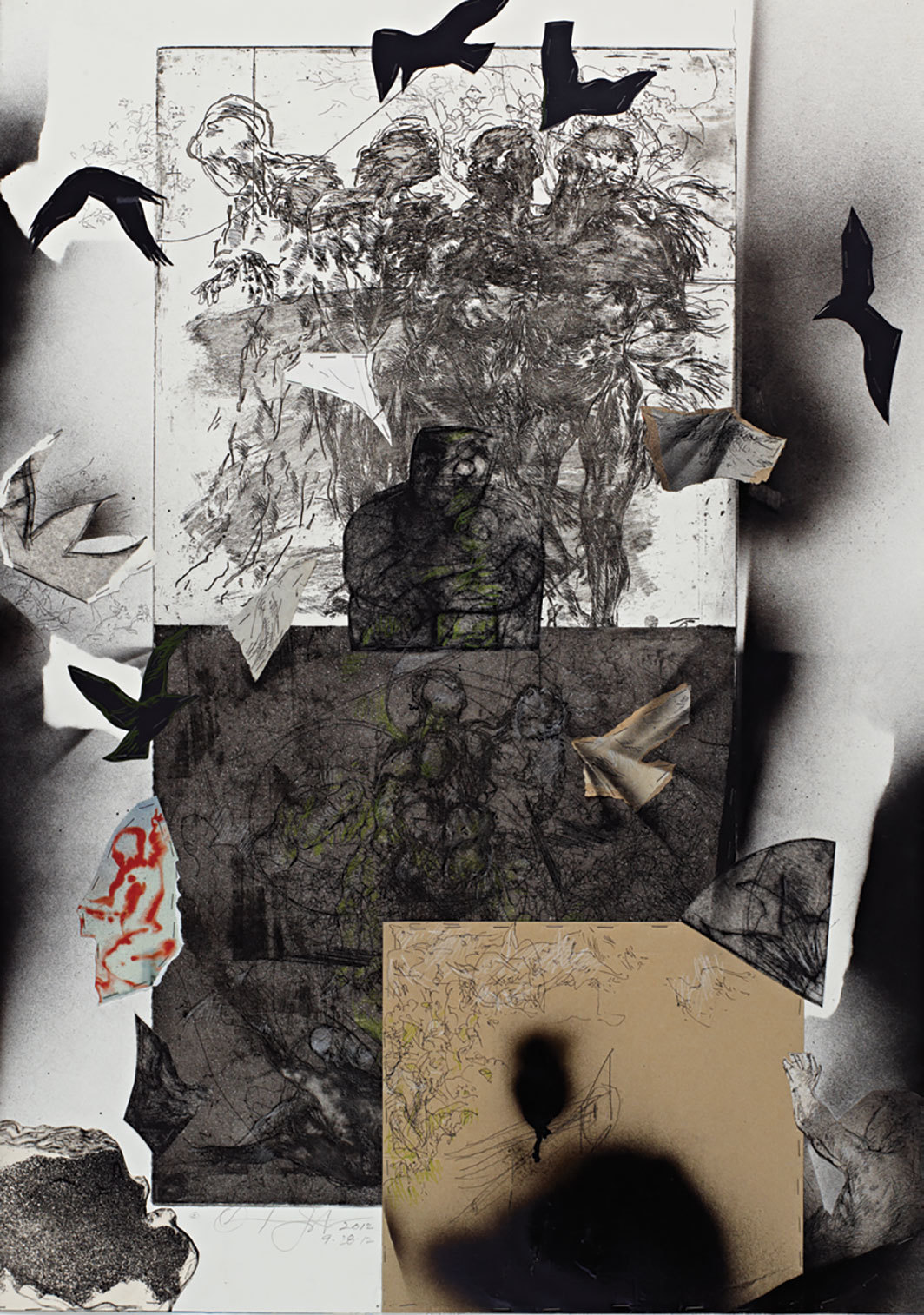 "Oliver Lee Jackson, Composite, 2012, intaglio print and mixed media on paper, 40 1⁄4 × 28 7⁄8""."