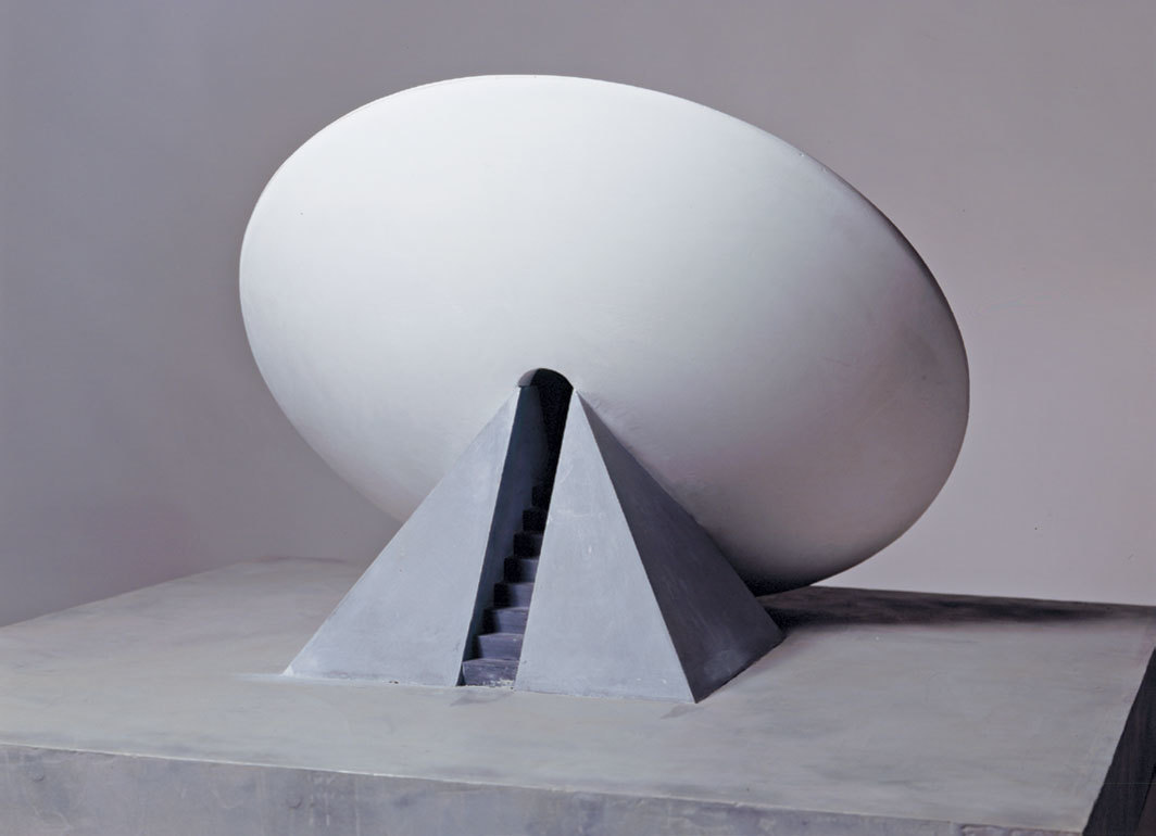 "James Turrell, Missed Approach, 1990, plaster, wood, 15 1⁄2 × 33 3⁄4 × 33 3⁄4""."