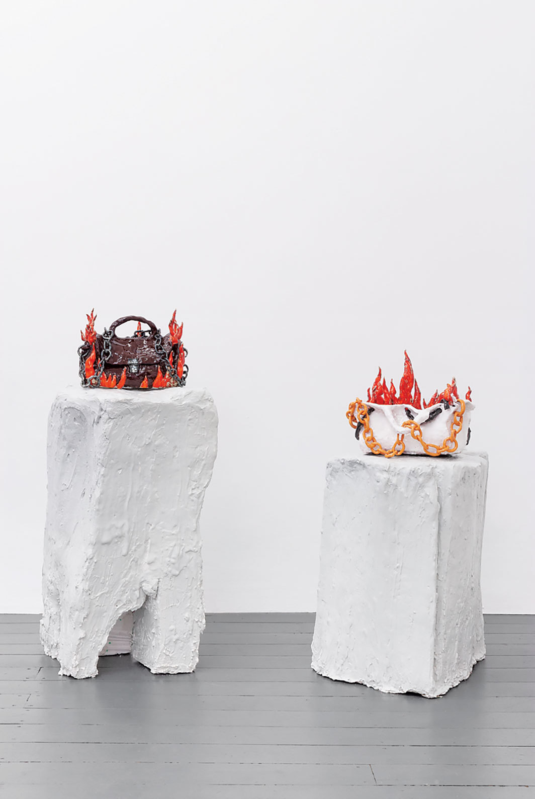 "View of ""May the bridges I burn light the way,"" 2018. From left: Nschotschi Haslinger, Brennende Tasche (Burning Bag) I and II, both 2018. Photo: Christian Siekmeier."