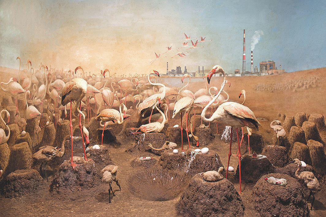"Anne Zahalka, Flocking flamingos, 2018, pigment ink on canvas, 39 3⁄8 × 59"". From the series ""Wild Life in the Age of the Anthropocene,"" 2018."