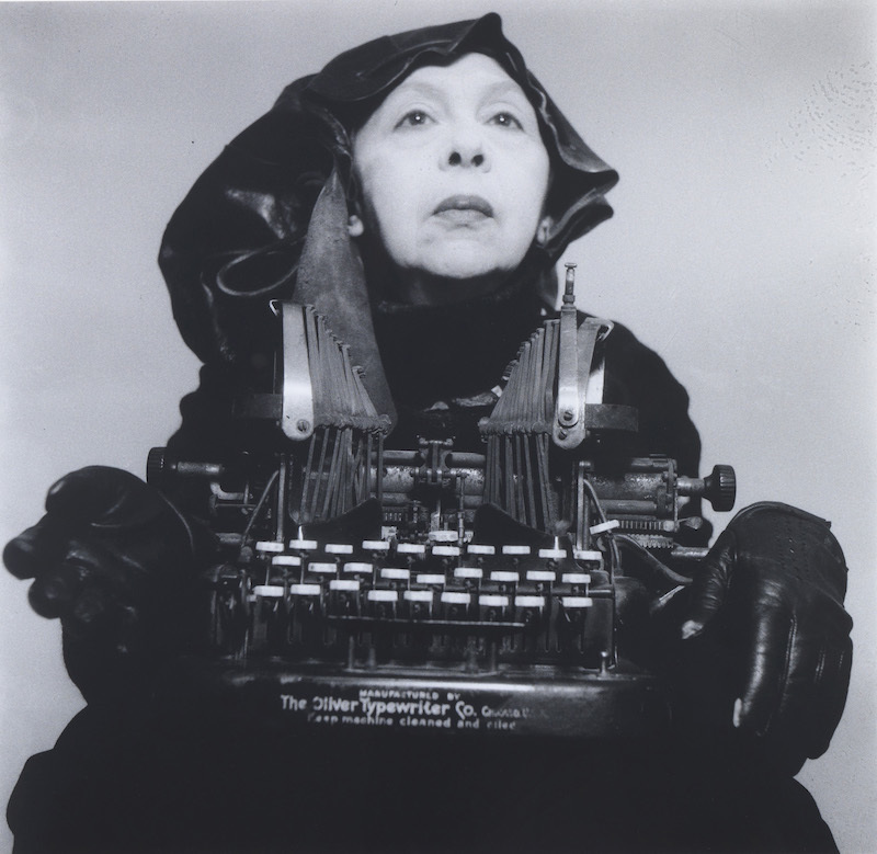 "Geta Brătescu, Mrs Oliver in her traveling costume, 1980/2012, black-and-white photograph, 15 x 15.5"". Courtesy of the artist, Galerie Barbara Weiss, Berlin, and Ivan Gallery."
