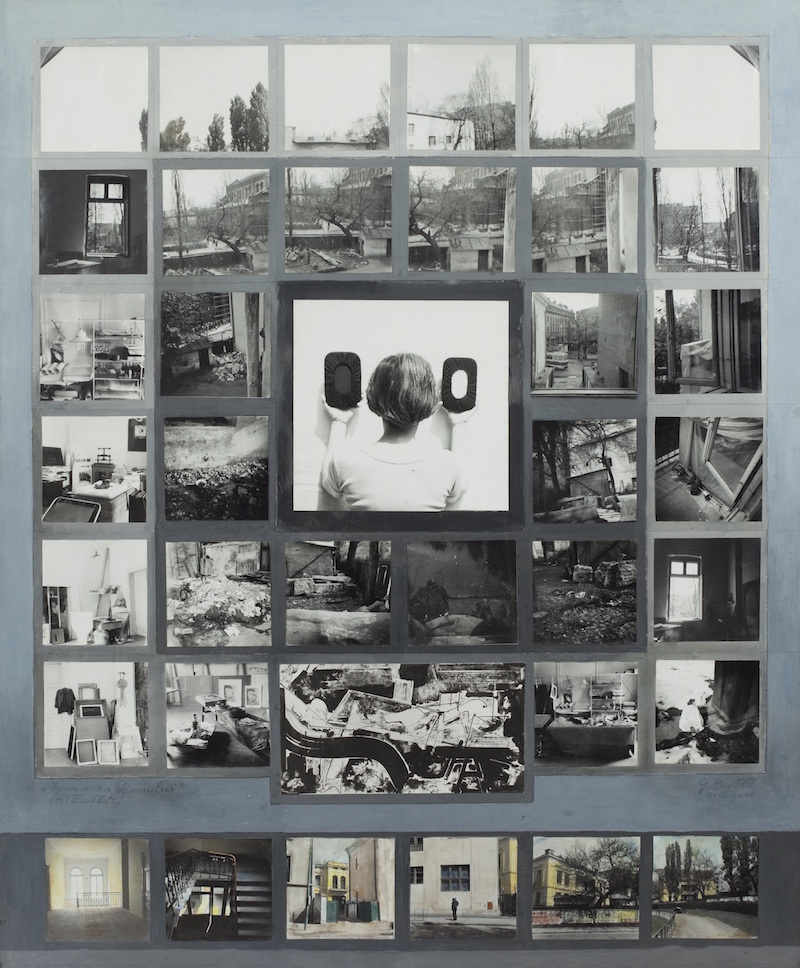 "Geta Brătescu, Atelierul, 1979, Gelatin silver prints with tempera on paper, 33 x 27.5"". Photo: Ștefan Sava."