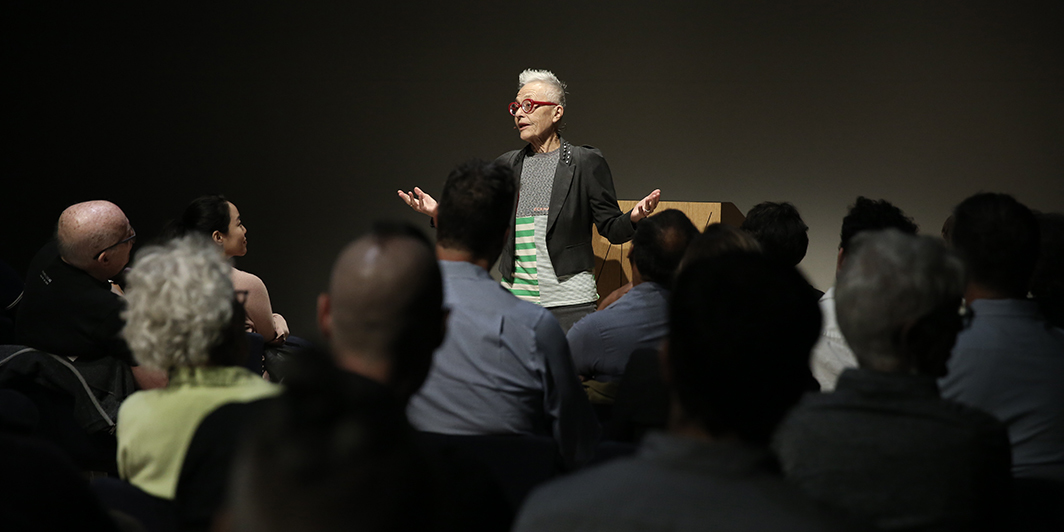 Barbara Hammer, The Art of Dying or (Palliative Art Making in an Age of Anxiety). Performance view, Whitney Museum of Art, October 10, 2018. Photo: Paula Court.