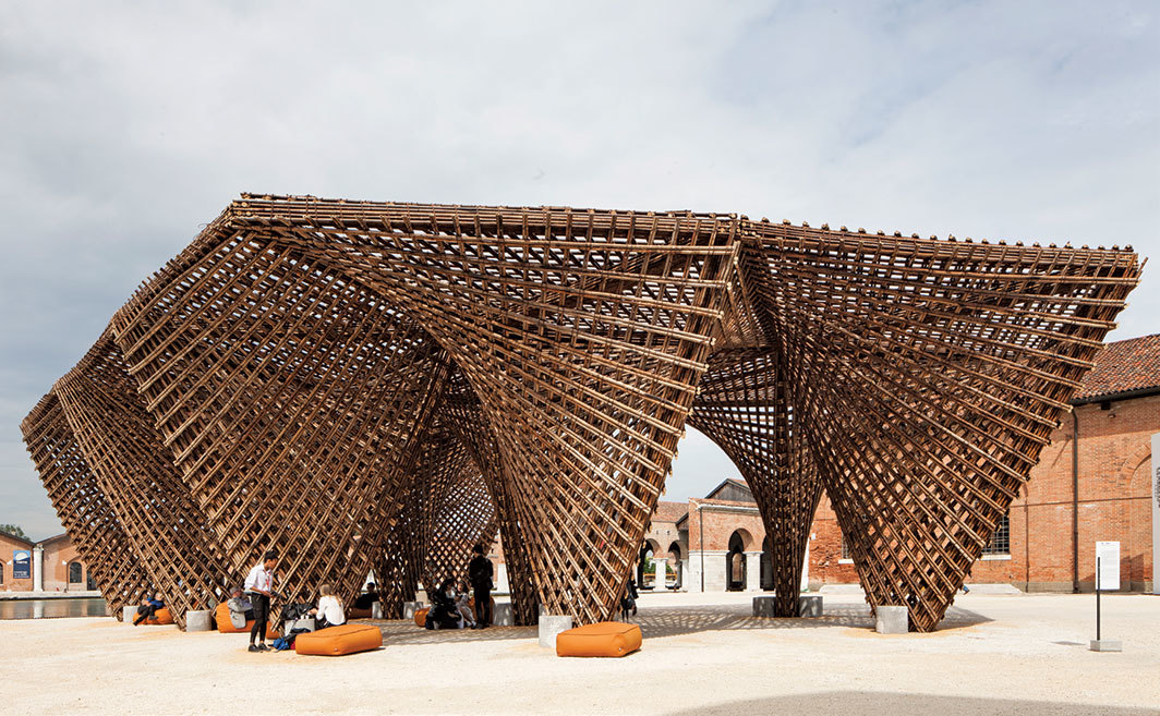 Vo Trong Nghia Architects, Bamboo Stalactite, 2018, bamboo. Installation view, grounds of the Arsenale, Venice. Photo: Francesco Galli.