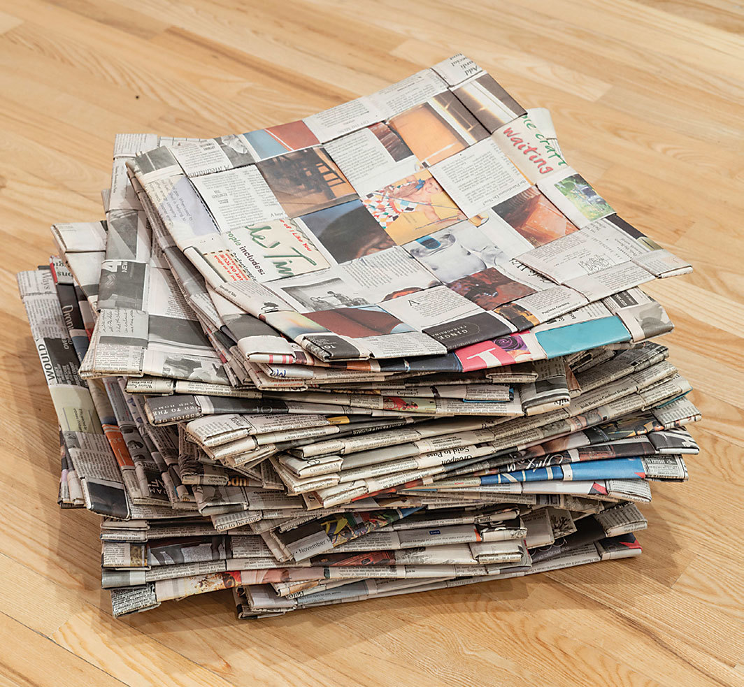 Maren Hassinger, Sit Upons (detail), 2010/2018, New York Times newspapers, dimensions variable. Photo: Joshua White.